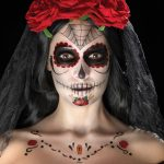 Day of the Dead Face Tattoo Transfers Kit, Aqua