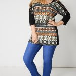 Laser Cut Out Sleeve Top With Abstract Print