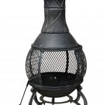 89Cm Large Open Mesh Cast Iron Chiminea Heater Black / Bronze