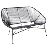 Garden Furniture Retro Rattan Lounge Conservatory Bench – Black