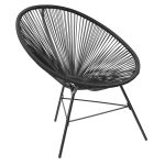 Garden Furniture Retro Rattan Lounge Conservatory Chair Black