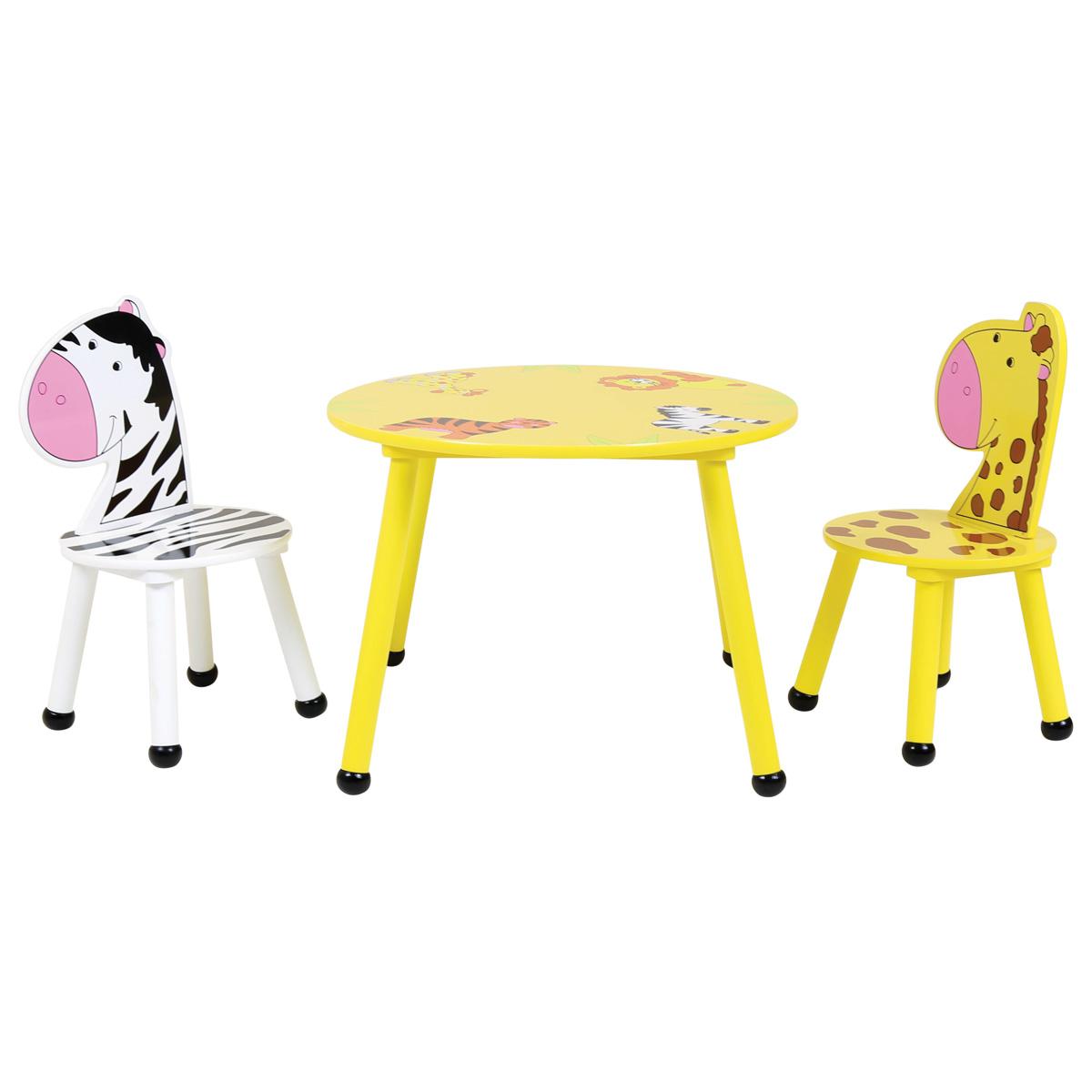 5cc72d97b8f Kids Jungle Safari Wooden Table   2 Or 4 Chairs Set Children S ...